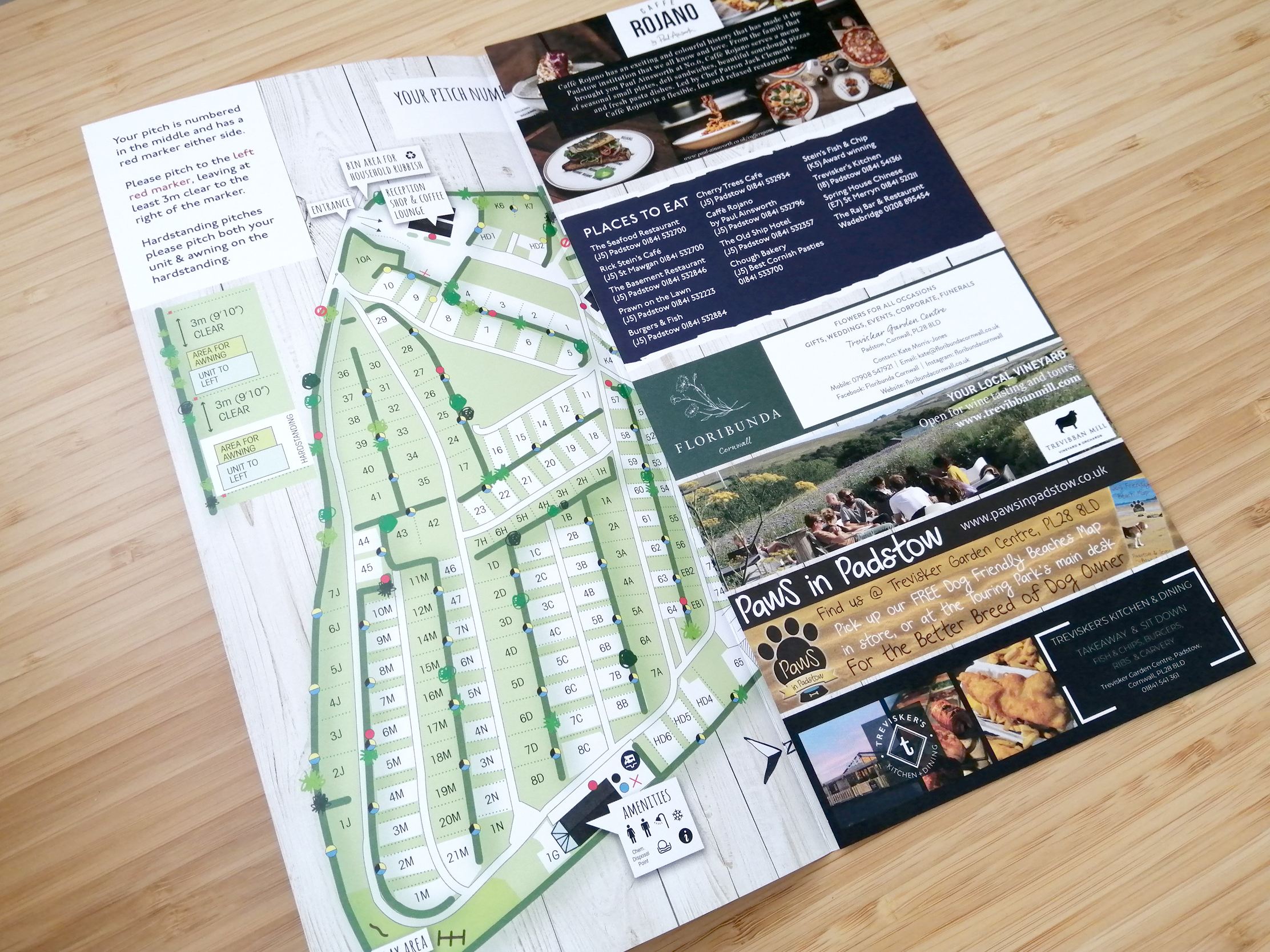 Padstow Holiday Village Map Welcome Leaflet with adverts