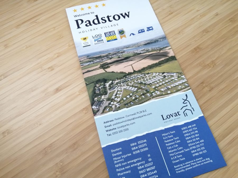 Padstow Holiday Village Map Welcome Leaflet cover