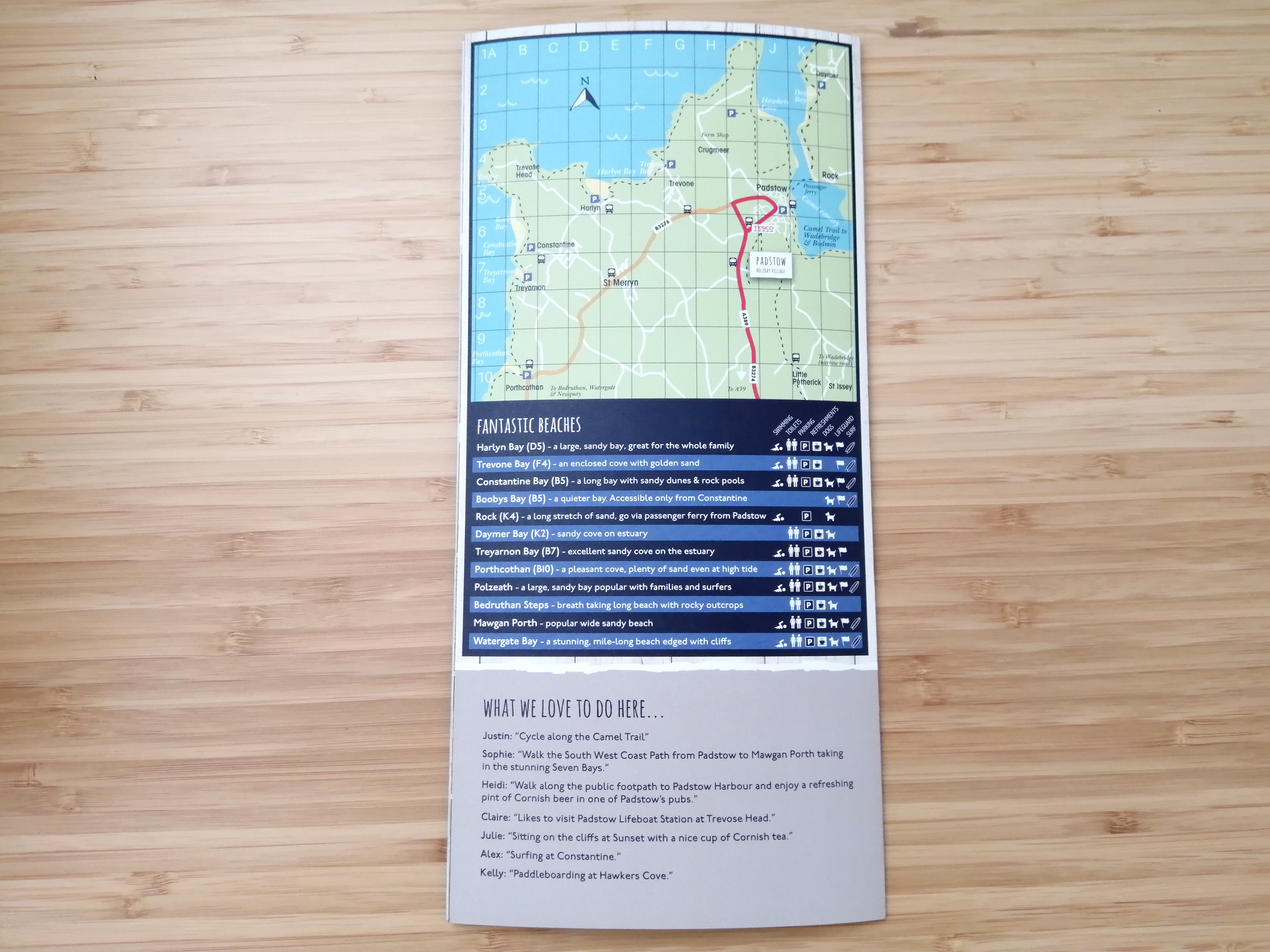 Padstow Holiday Village Map Welcome Leaflet back