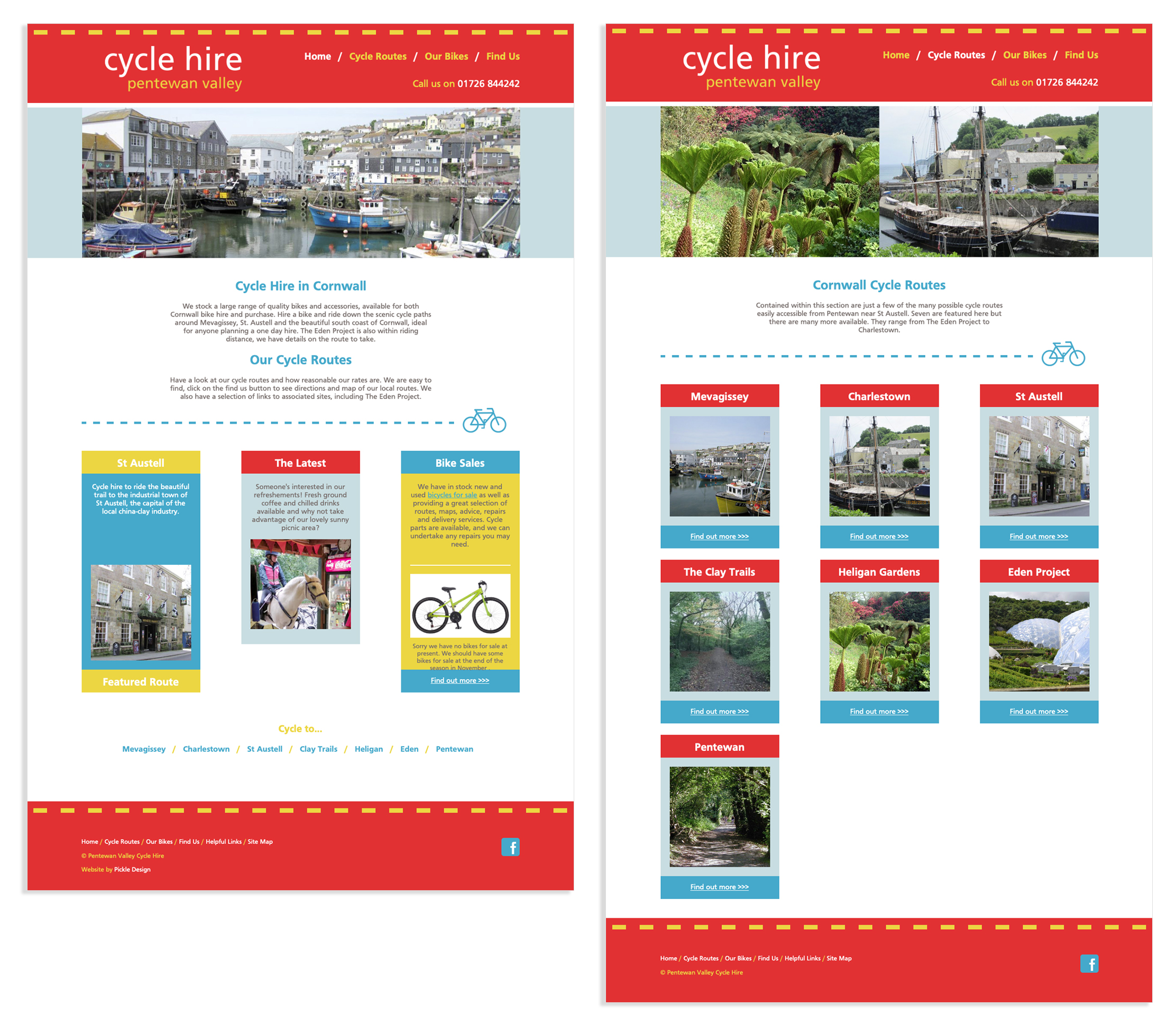 Pentewan Valley Cycle Hire routes and home page