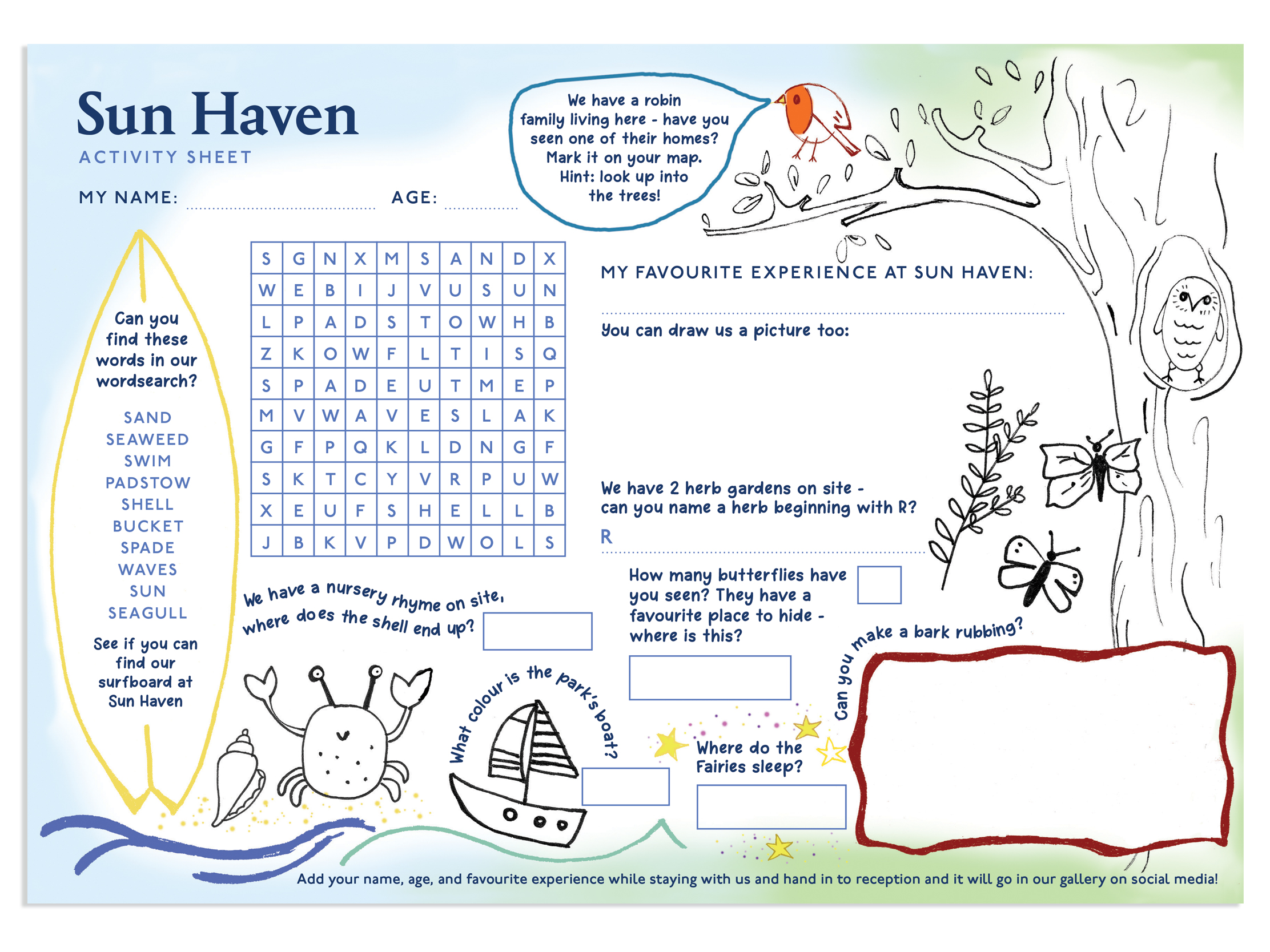 Activity Sheet for Sun Haven