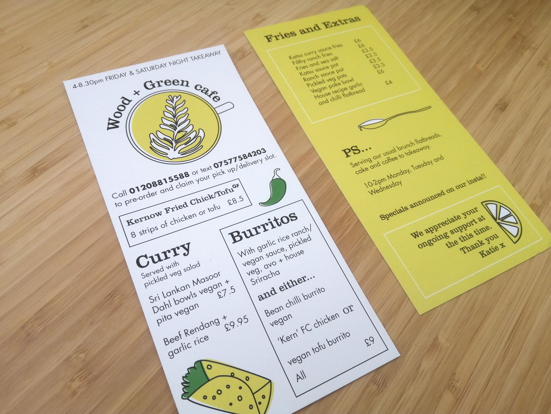 Wood + Green cafe menu