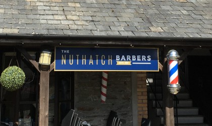 Signage for a barbers in Wadebridge
