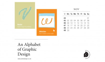 Download the month of November from our Alphabet of Graphic Design calendar for free for your mobile, tablet and desktop computer background