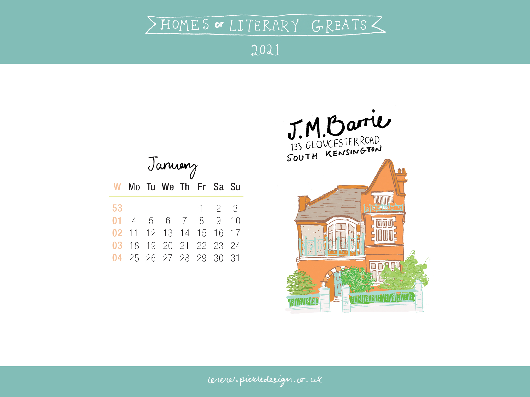 Download the month of January from our 2021 calendar featuring illustrations of classic writer's houses for free for your mobile, tablet and desktop computer background