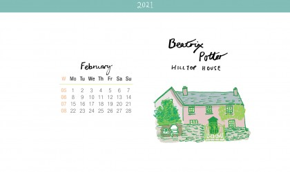 Download the month of February from our 2021 calendar featuring illustrations of classic writer's houses for free for your mobile, tablet and desktop computer background