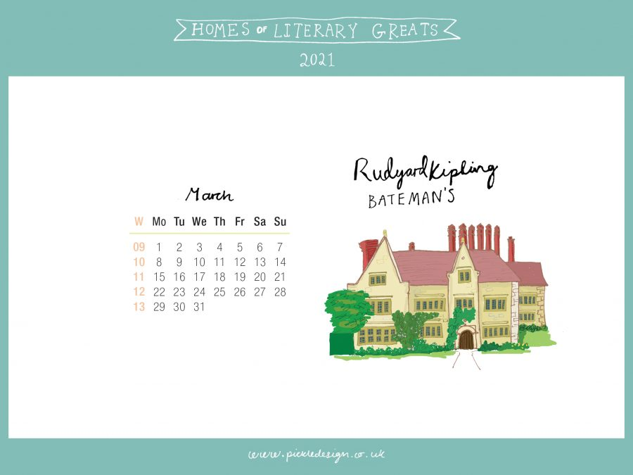 Download the month of March from our 2021 calendar featuring illustrations of classic writer's houses for free for your mobile, tablet and desktop computer background