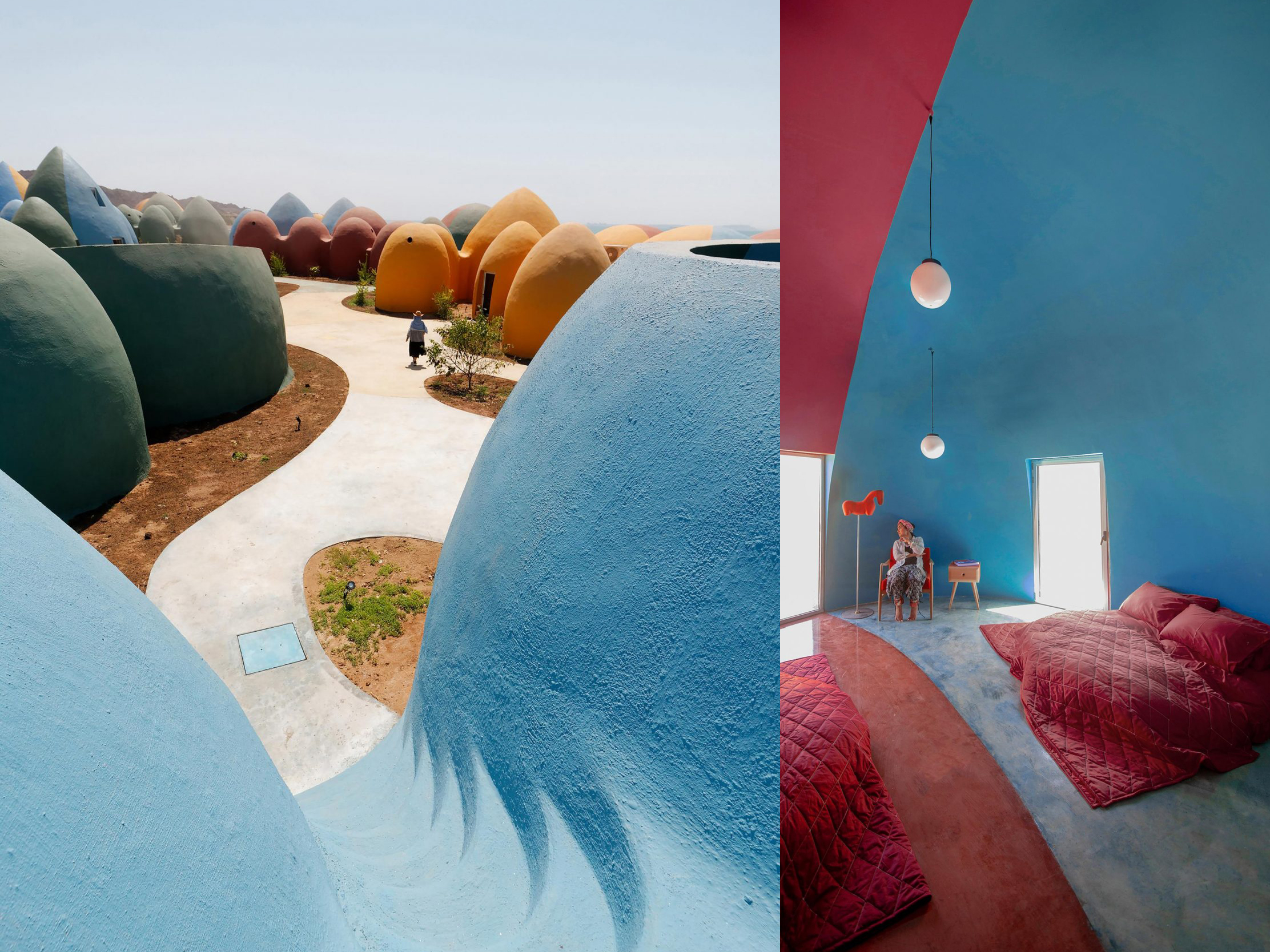 Colourful dome houses and holiday accommodation in the Persian Gulf