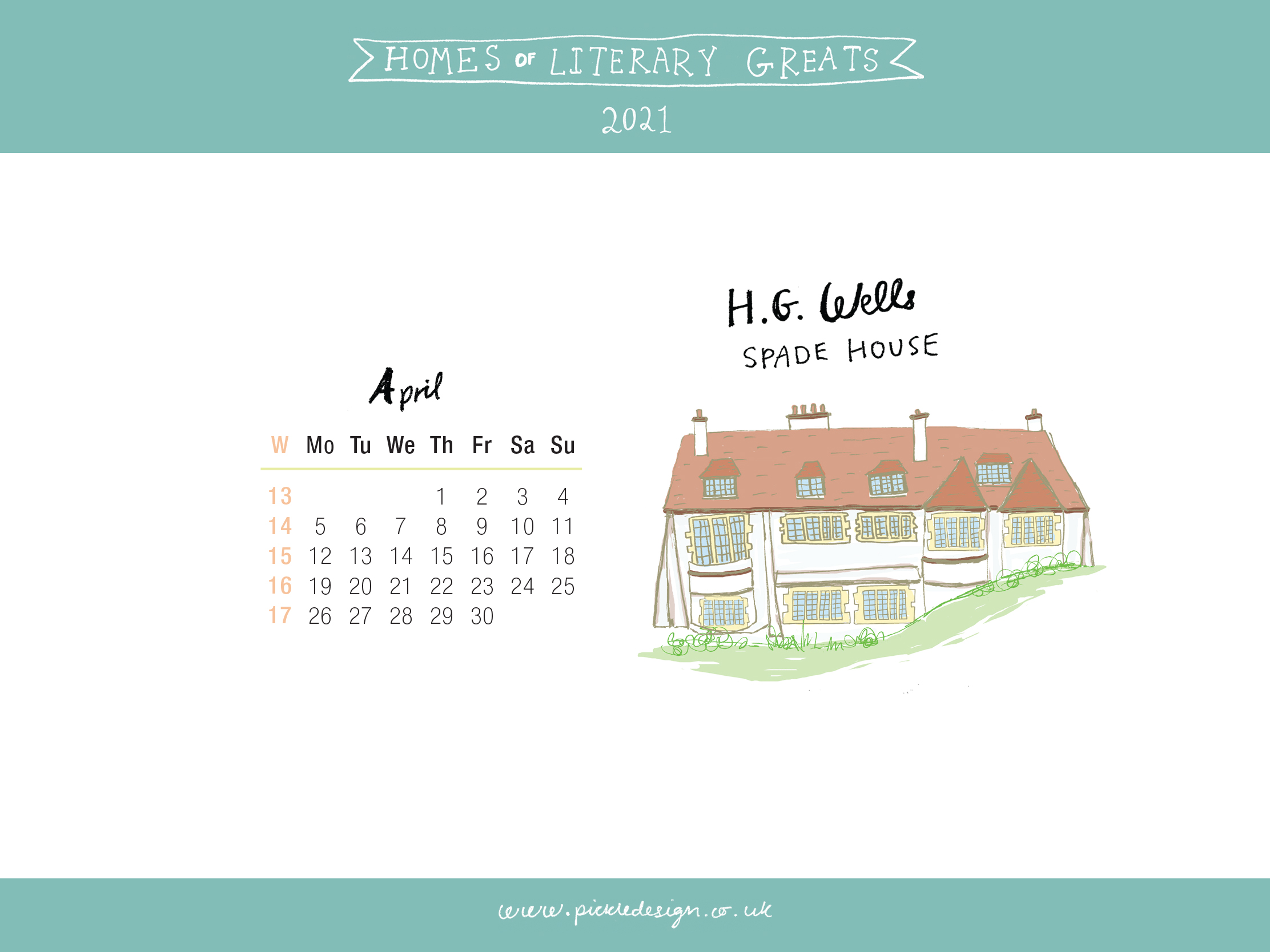 Download the month of April from our 2021 calendar featuring illustrations of classic writer's houses for free for your mobile, tablet and desktop computer background