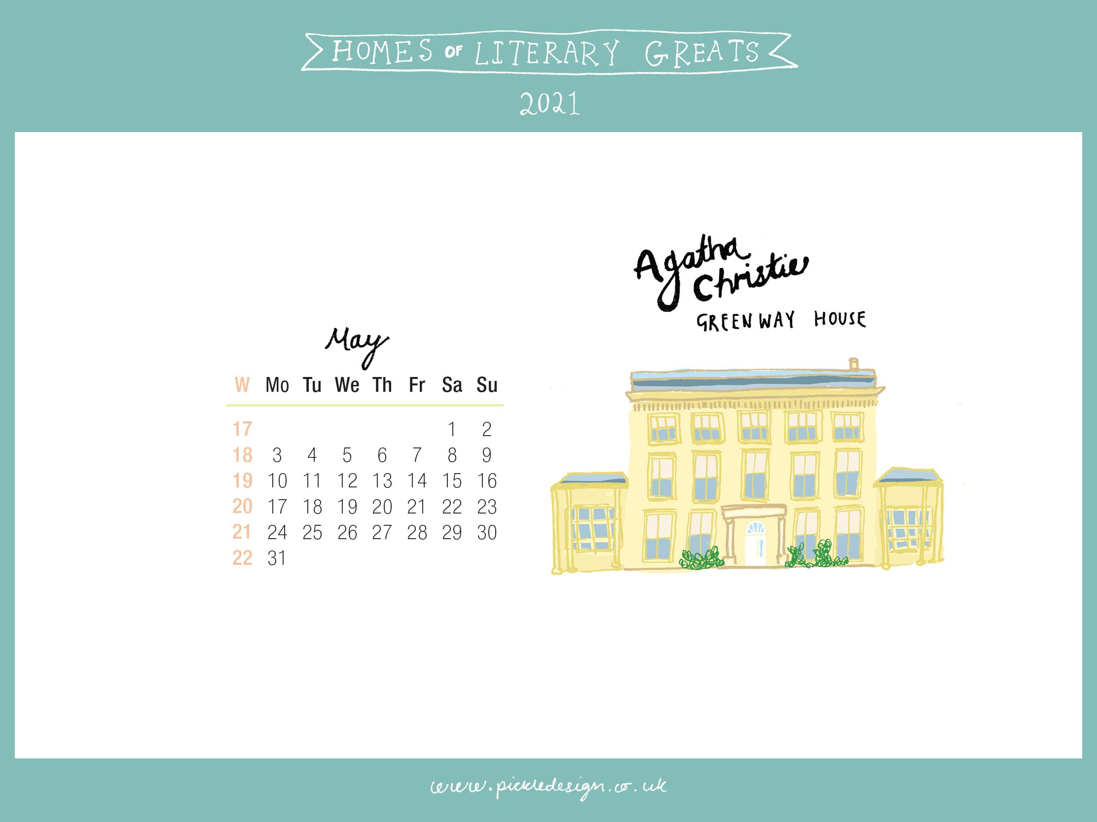 Download the month of May from our 2021 calendar featuring illustrations of classic writer's houses for free for your mobile, tablet and desktop computer background