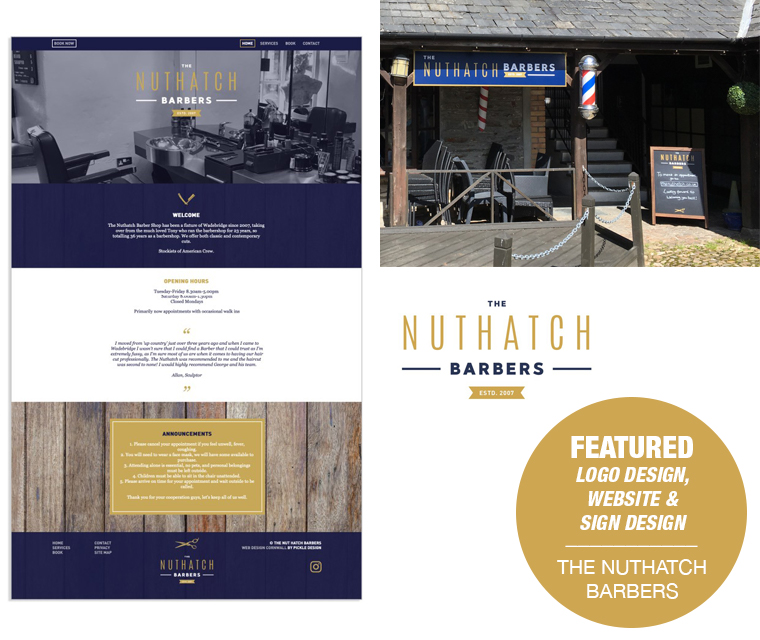 Branding, web design and signage for Wadebridge barbers The Nuthatch