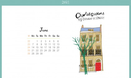 Download the month of June from our 2021 calendar featuring illustrations of classic writer's houses for free for your mobile, tablet and desktop computer background