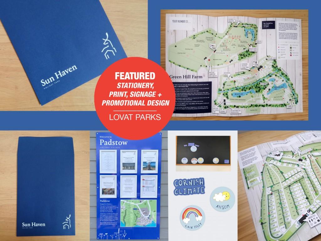 Promotion, map design, leaflets, stationery and signage for Lovat Holiday Parks