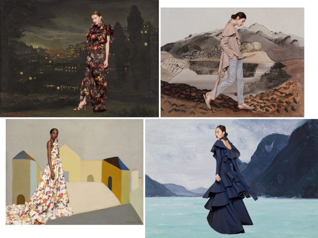 The fashion of Rosie Assoulin paired with colourful paintings by Miss Moss