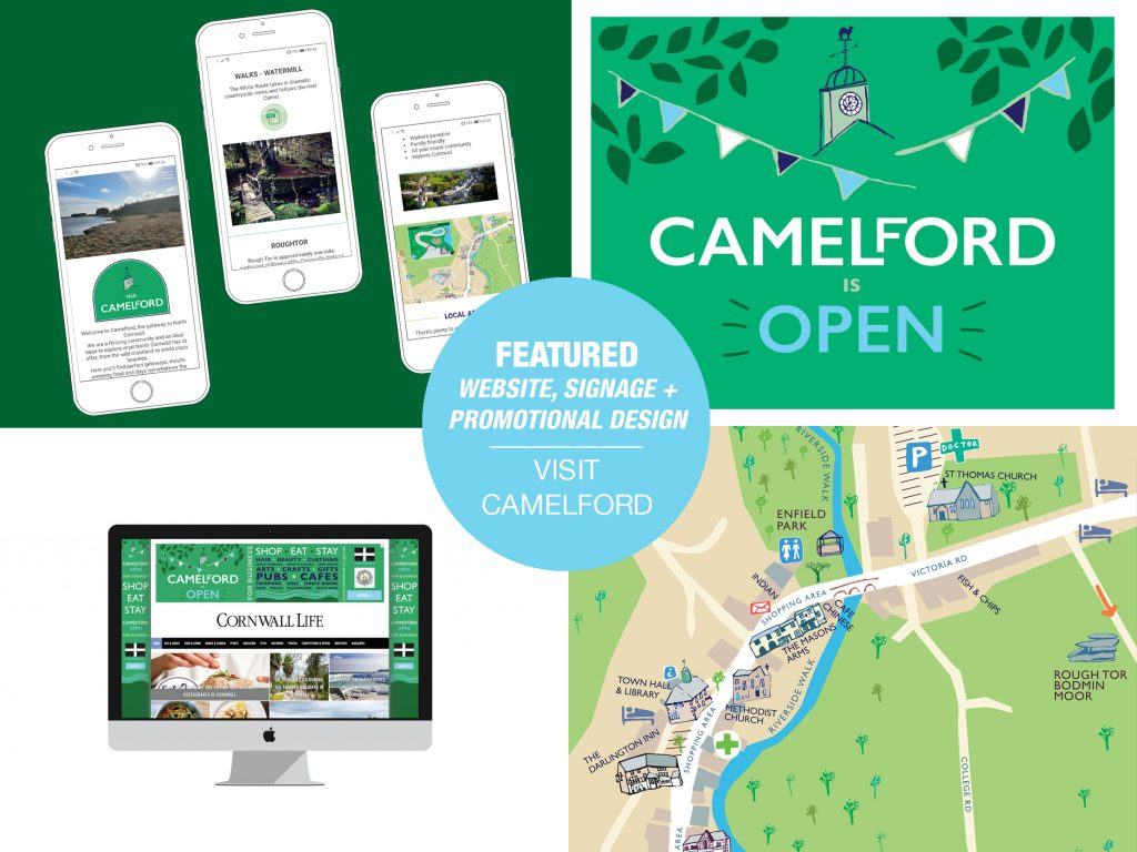 Promotion, map design, web design, illustration and branding for Camelford Town Council
