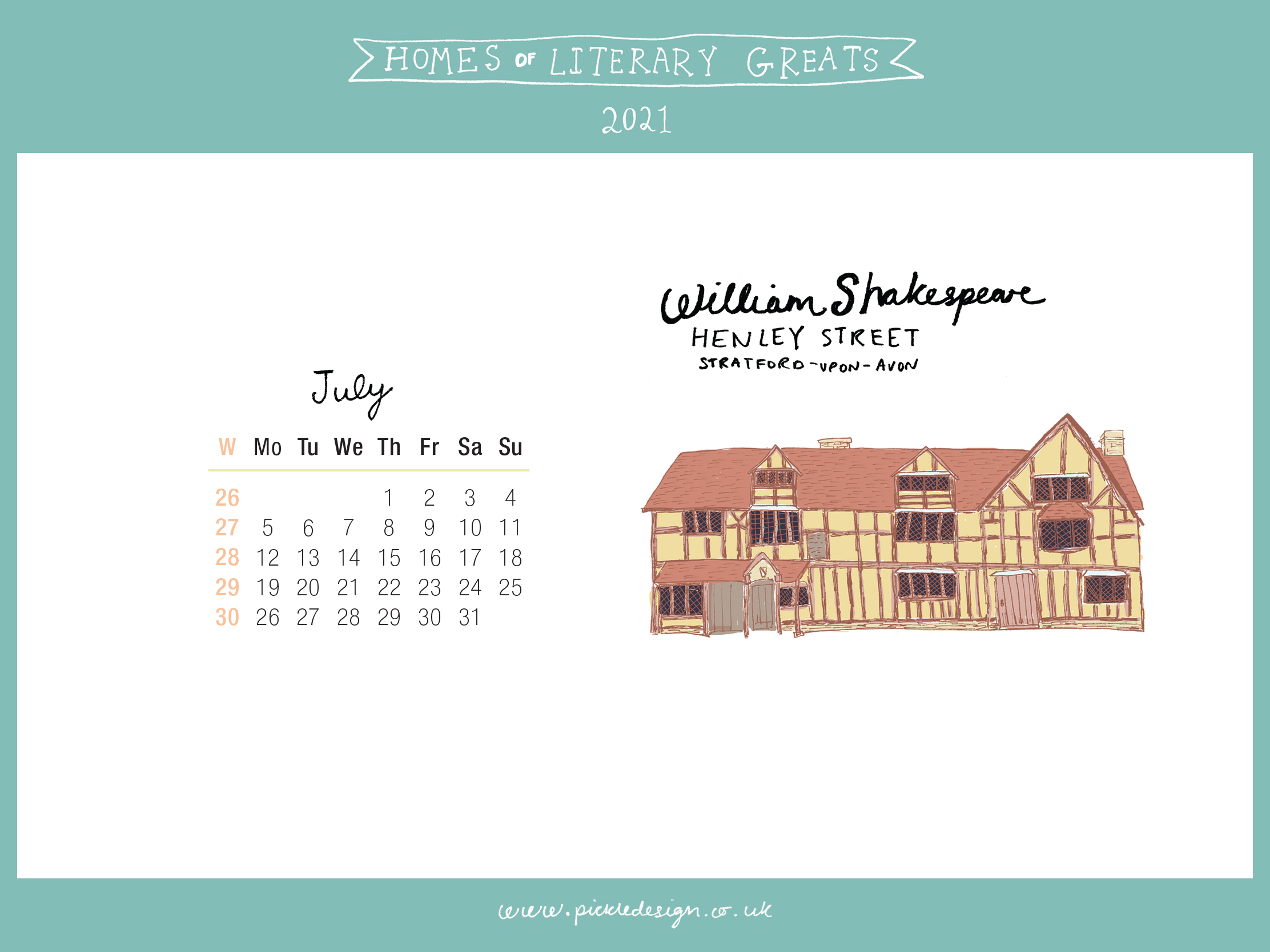 Download the month of July from our 2021 calendar featuring illustrations of classic writer's houses for free for your mobile, tablet and desktop computer background