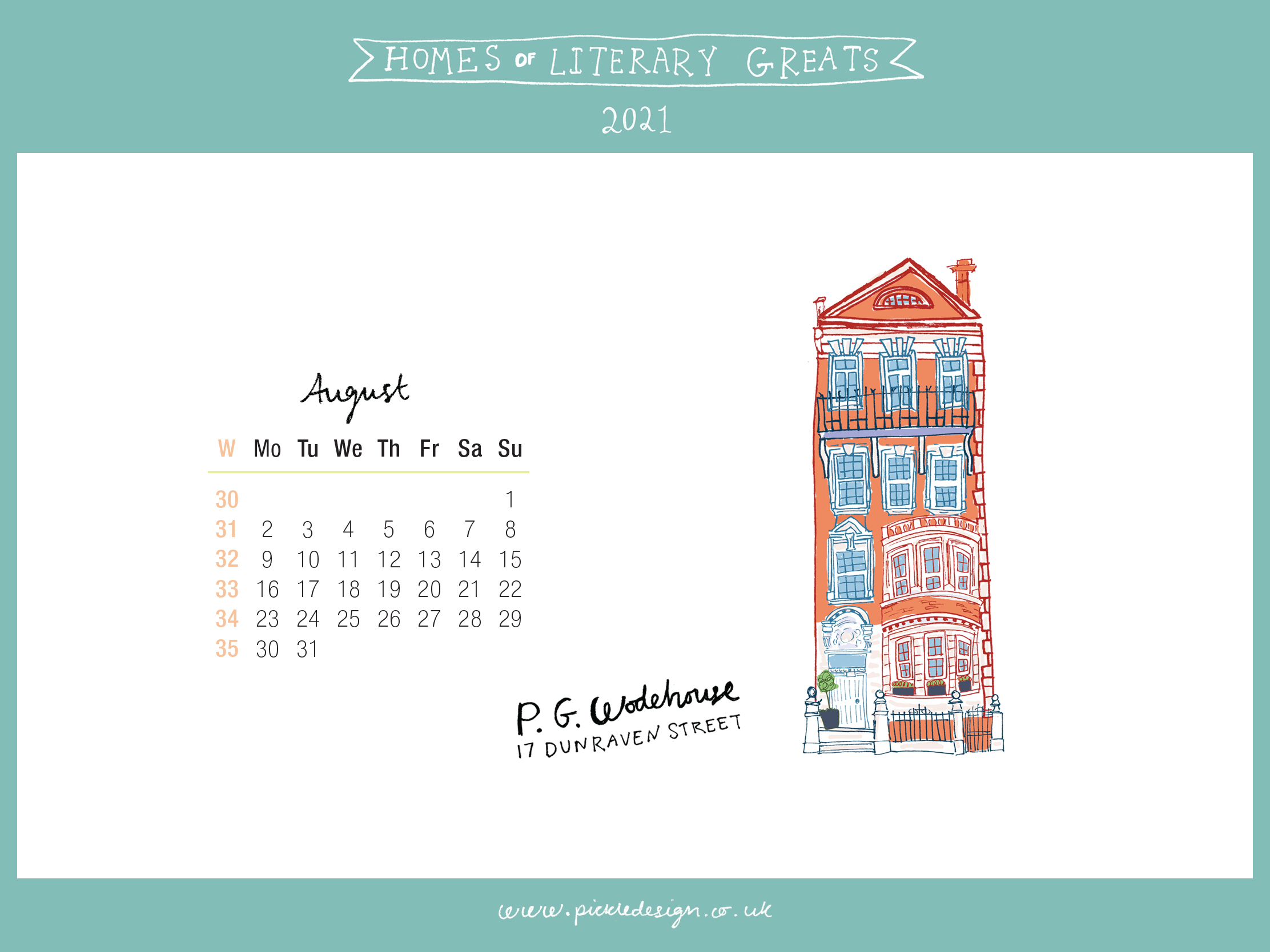 Download the month of August from our 2021 calendar featuring illustrations of classic writer's houses for free for your mobile, tablet and desktop computer background