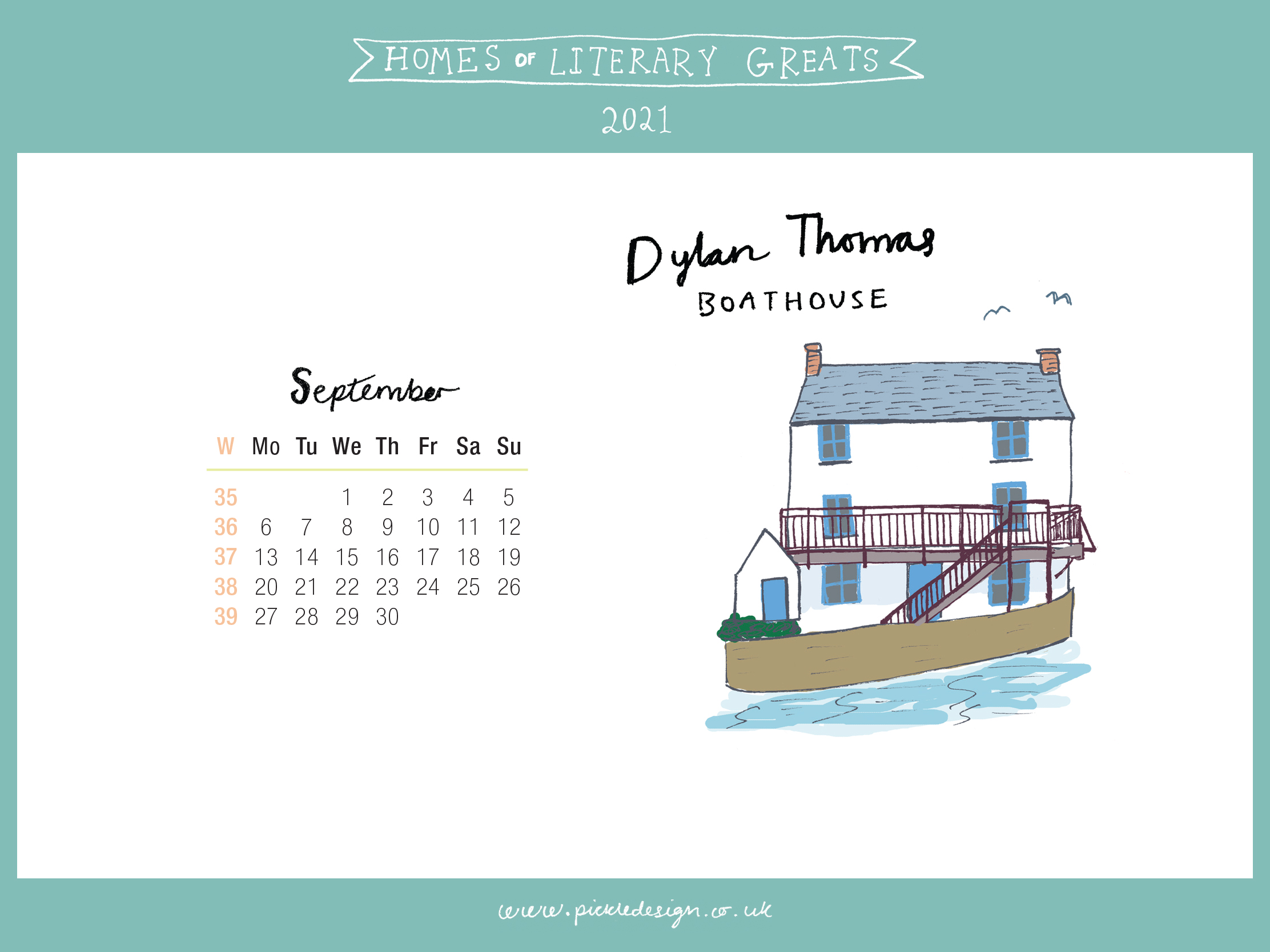 Download the month of September from our 2021 calendar featuring illustrations of classic writer's houses for free for your mobile, tablet and desktop computer background