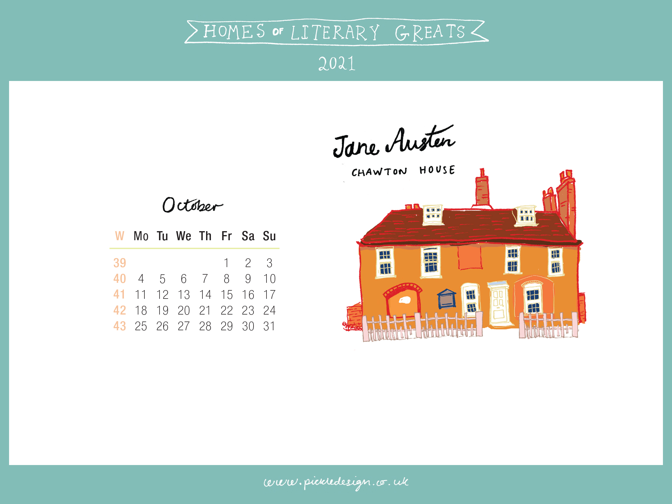 Download the month of October from our 2021 calendar featuring illustrations of classic writer's houses for free for your mobile, tablet and desktop computer background